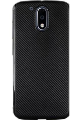 Gpack Motorola Moto G4 Plus Kılıf Carbon Fiber Silikon Case +Kalem+Cam