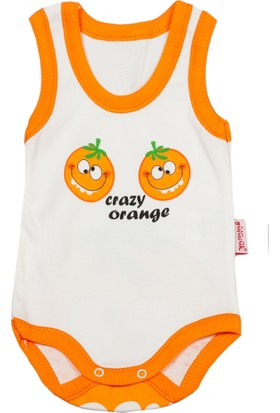 Gülücük Turuncu Portakallı Bebek Zıbın Body 6 - 9 Ay
