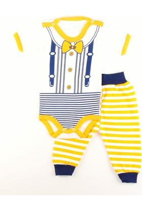 Gülücük Sarı Çizgili Kısa Kollu Bebek Zıbın Body Takım 0 - 3 Ay