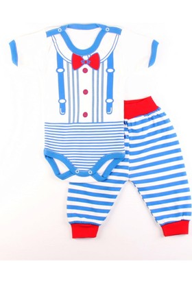 Gülücük Mavi Çizgili Kısa Kollu Bebek Zıbın Body Takım 0 - 3 Ay