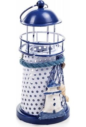 DecoTown Metal Deniz Feneri Mavi Mumluk