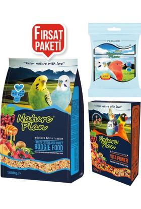 Nature Plan Muhabbet Kuşu Bağışıklık Destek Paketi -1 Kg Muhebbet Yemi +50 Gr Vitapower+200 Gr Kum