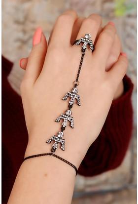 Moco Zirkon Taşlı Siyah Renk Metal Bayan Şahmeran 521855