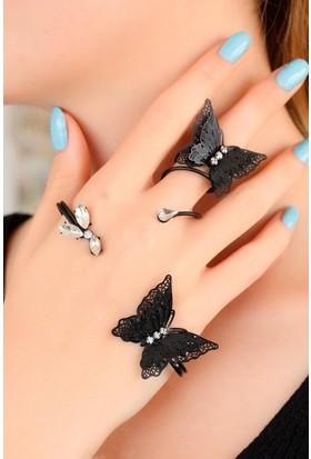 Moco Siyah Kelebek Figürlü Bayan El Bileziği 522476