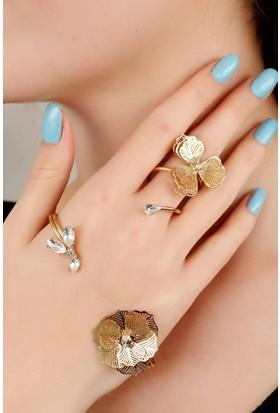 Moco Dore Metal Damla Taş Detaylı Çiçek Figürlü Bayan El Bileziği 522478