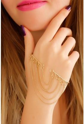 Moco Sarı Metal Zincir Tasarımlı Bayan El Bileziği 522651