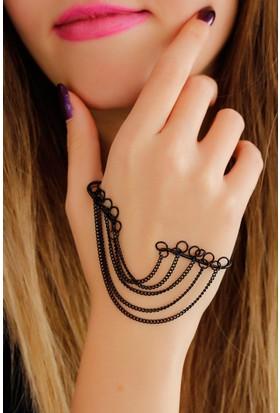 Moco Siyah Metal Zincir Tasarımlı Bayan El Bileziği 522655
