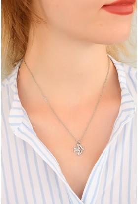 E-Bijuteri Zirkon Taşlı Metal Bayan Kolye 518932