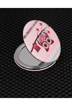 E-Bijuteri Pembe Baykuş Desenli Cep Aynası 523205