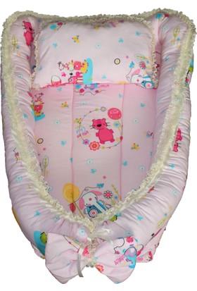 Baskaya Bebek Uyku Yatağı + Bebek Emzirme Oturma Destek Minderi + Önlüğü - Takım