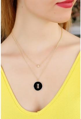 Morvizyon Zirkon Taşlı Siyah Renk I Harfli Tasarımlı Bayan Kolye 9077344