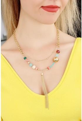 Morvizyon Renkli Boncuk Tasarımlı Bayan Kolye 9078467