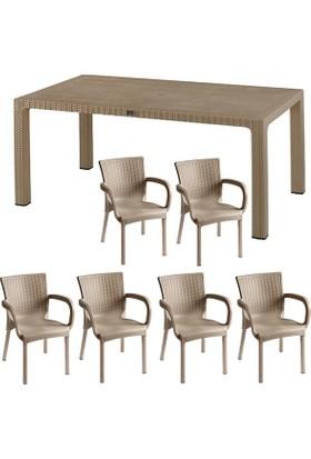 Comfort Begonya Rattan 6 Kişilik Mutfak Balkon Bahçe Masa Takımı 90x150 Masa 6 Adet Rattan Koltuk Cappucino (Krem)