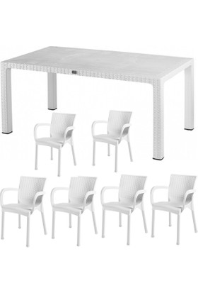 Comfort Begonya Rattan 6 Kişilik Mutfak Balkon Bahçe Masa Takımı 90x150 Masa 6 Adet Rattan Koltuk Beyaz (White)