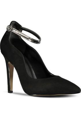 Mrjin Vene Topuklu Ayakkabı Siyah Süet