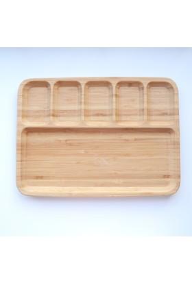 DK 32x24 Cm Bambu 6 Bölmeli Kahvaltı Tabağı 3224