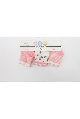 Bumbo Çiçekli 3'lü Bebek Çorabı