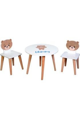 Lila Baby Çocuk Aktivite Masa Seti 1 Masa 1 Sandalye 60 x 60 cm