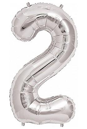 PartiBulutu 2 Rakam Gümüş Folyo Balon 40cm