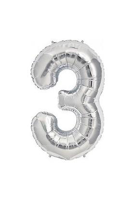PartiBulutu 3 Rakam Gümüş Folyo Balon 40cm