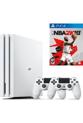 Sony Playstation 4 Pro 1 Tb Beyaz ( Ps4 Pro ) + 2. Ps4 Kol + Ps4 Nba 2K18