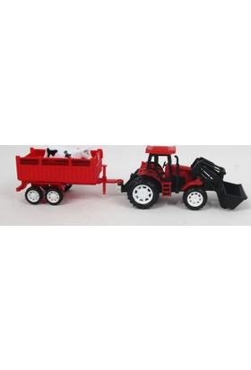 Prestij Oyuncak Farm Tractor Oyuncak Traktör Römorklu Hayvanlı 859A 33 cm