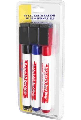 Red Apple Beyaz Tahta Kalemi 3 Renk Silgili Mıknatıslı
