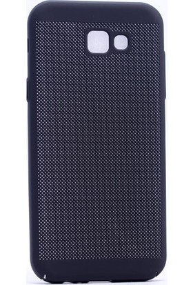 Case 4U Samsung Galaxy A7 2017 Kılıf Delikli Soft Mat Rubber + Cam Ekran Koruyucu Siyah