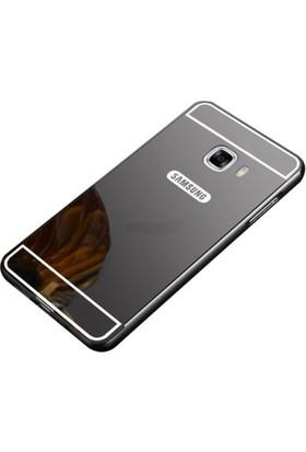 Case 4U Samsung Galaxy C9 Pro Aynalı Metal Kapak Kılıf + Tam Kapatan Cam Koyu Gri