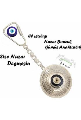 Midyat Nurtaş Gümüş 925 Ayar Gümüş Telkari El İşçiliği Nazar Boncuklu Anahtarlık 2010173