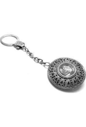 Midyat Nurtaş Gümüş 925 Ayar Oksitli Midyat El İşi Telkari Osmanlı Tuğralı Gümüş Anahtarlık 2010181