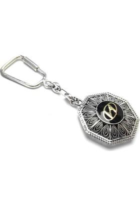 Midyat Nurtaş Gümüş 925 Ayar Hyundai Amblemli Midyat El İşi Oksitli Telkari Gümüş Anahtarlık 20101527