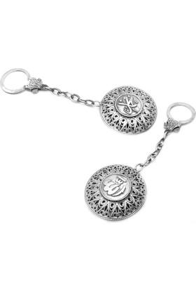 Midyat Nurtaş Gümüş 925 Ayar Arapça&#39&#39 Allah Muhammed&#39&#39 Yazılı Gümüş El Yapımı Telkari Anahtarlık 20102581