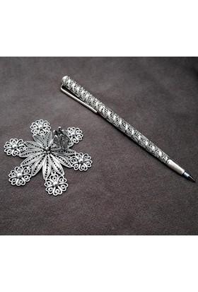 Midyat Nurtaş Gümüş Papatya Model Midyat Telkari El İşçiliği Masaüstü Kalemlik 20107005