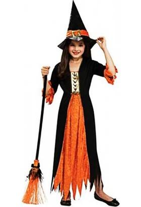 Kostümce Cadı Kostümü Çocuk Halloween Kıyafeti