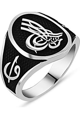 Reyyan 925 Ayar Gümüş Tuğra - Elif Vav İşlemeli Yüzük