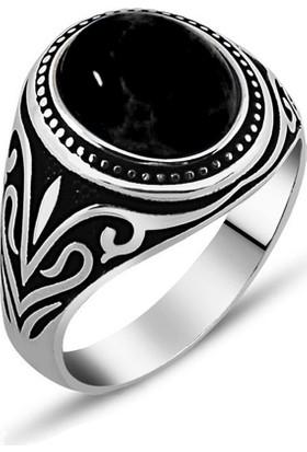 Reyyan 925 Ayar Gümüş Onix Taşlı - Desenli Yüzük