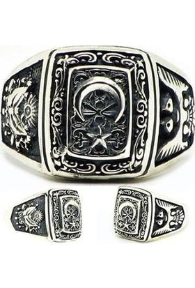 Reyyan 925 Ayar Gümüş Ay Yıldız Armalı Selçuklu Kartalı Desenli Yüzük
