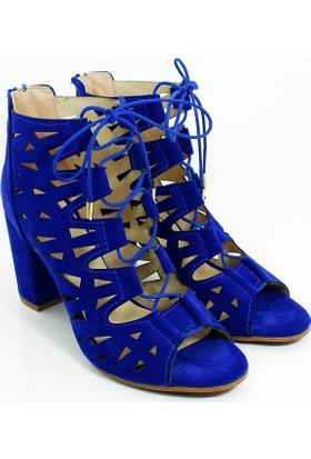 Lider Topuklu Kadın Bağcıklı Lazer Kesim Ayakkabı-Sax Mavi-113304-01