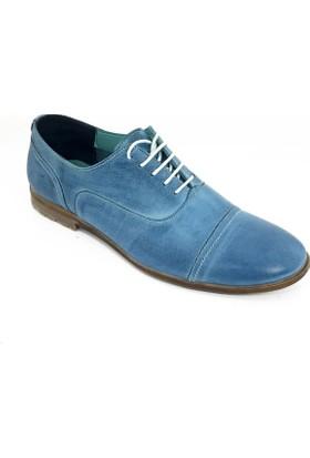 Grotto Erkek Hakiki Deri Klasik Ayakkabı-Mavi-113311-02