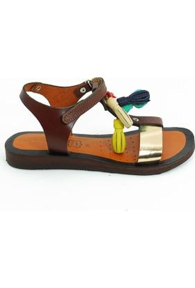Lepi Hakiki Deri Kız Çocuk Sandalet-Kahve-113363-01