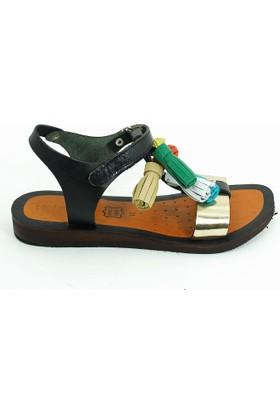 Lepi Hakiki Deri Kız Çocuk Sandalet-Siyah-113363-02