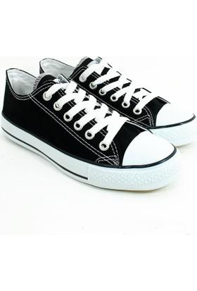 Street Kadın Günlük Keten Konvers Ayakkabı-Siyah-113377-02