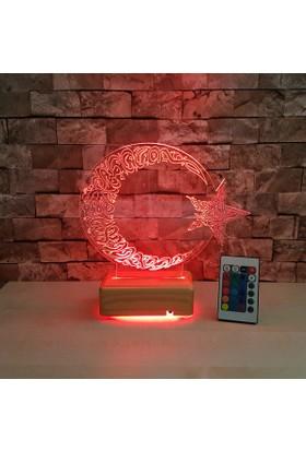 Ayyıldız Led Lamba 3 Boyutlu Led Lamba 16 Renkli Kumandalı Ahşap Stand