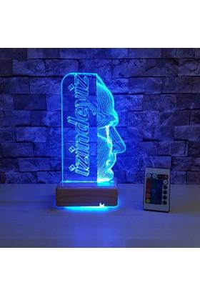 Atatürk Tasarımlı Led Lamba Atam İzindeyiz 3 Boyutlu Led Lamba 16 Renkli