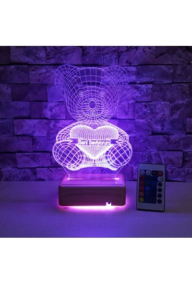 Seni Seviyorum Yazılı 3 Boyutlu Led Lamba 16 Farklı Renkli Kumandalı 3D Led Lamba
