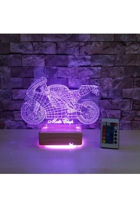 Motor Tasarımlı 3 Boyutlu Led Lamba 16 Renkli 3D Led Lamba