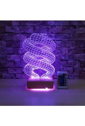 Dna Helezon Led Lamba 3D Lamba 16 Renkli Kumandalı Ahşap Standlı 3 Boyutlu Lamba