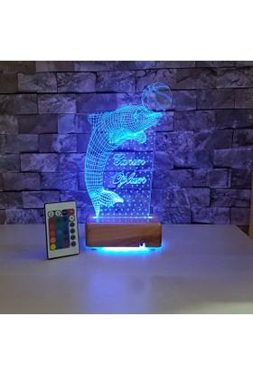 Yunus Çizimli 3 Boyutlu Led Lamba 16 Farklı Renkli - Kumandalı Ahşap Stand