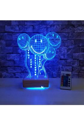 Balon Desenli 3Boyutlu Led lamba 16 Farklı Renk Kumandalı Led Masa Lambası